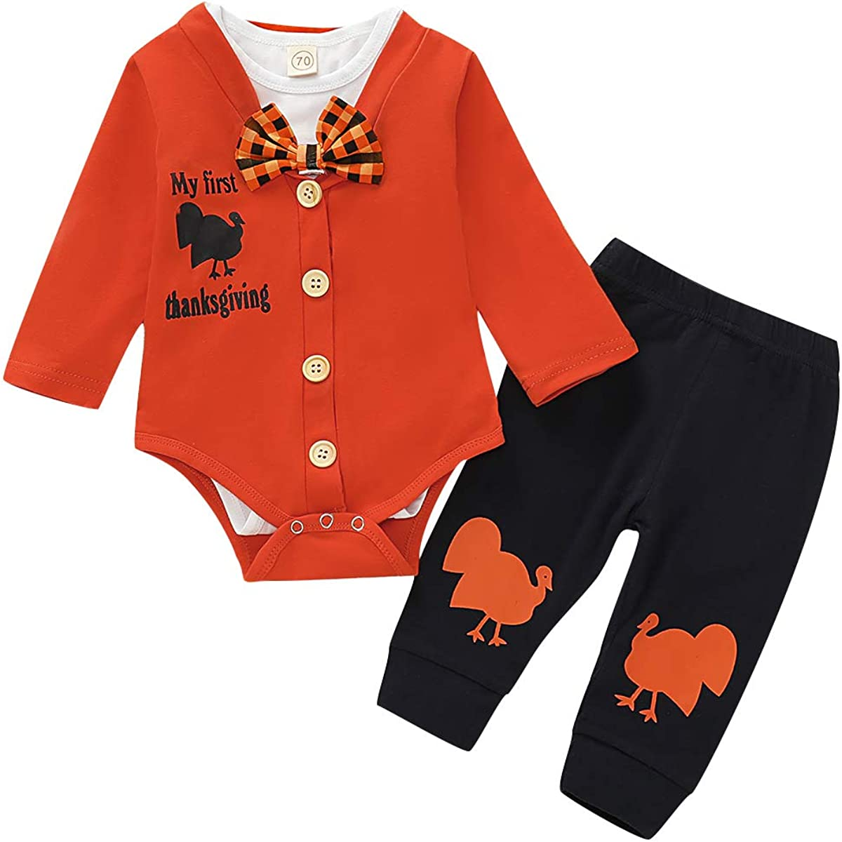 Aweyoo Baby Boy First Thanksgiving Outfit Turkey Printed Long Sleeve Romper Bodysuit Pants Set 3PCS
