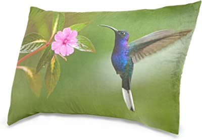 InterestPrint Small Bird Hummingbird Pink Flowers Green Leaves Pillowcase Throw Pillow Covers 18x18 Set of 2 Pillow Sham Cases Protector for Home Couch Sofa Bedding Decorative