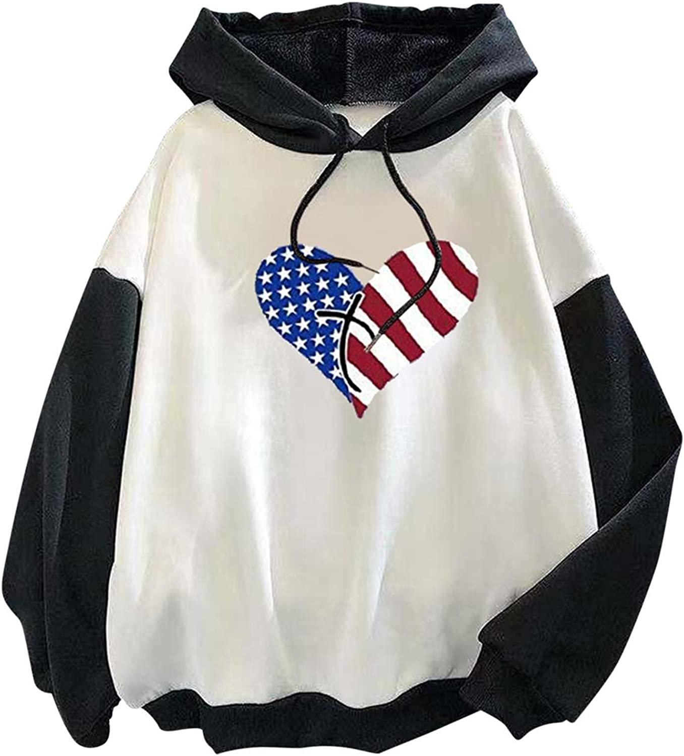 Qunkii Women's Casual Hoodies Patchwork Long Sleeve Sweatshirts Drawstring Pullover Cute Heart Graphic Tunic Tops