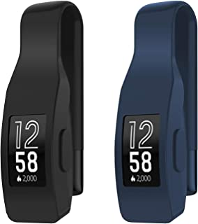 EEweca 2-Pack Clip for Fitbit Inspire or Inspire HR Holder Accessory, Black+Midnight Blue
