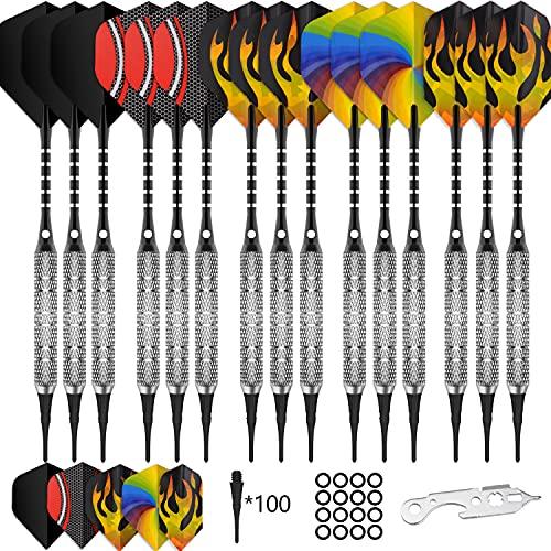 CyeeLife 15 Packs Soft tip Darts Set 18g,100 Extra Tips+Dart Tool+15 Aluminum shafts+20 Flights,Professional Plastic tip Darts for Electronic Dart Board-Sliver