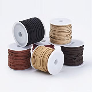 PandaHall Elite 6 Rolls 3mm Lace Faux Leather Suede Beading Cords Velvet String 5.5 Yard per Pack 6 Mixed Colors 3 3mm 6 C...