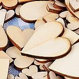 300 Stück Holzherzen Scheiben Naturholzscheiben unlackiert für DIY Handwerk Verzierungen(Vier Größe:1cm 2cm 3cm 4cm - 4