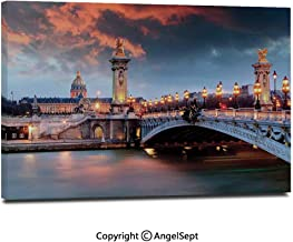 Canvas Prints Modern Art Framed Wall Mural Alexandre 3 Bridge Paris France Palace Golden Color Peaceful Surface Waterscape Wall Decorations for Living Room Bedroom Dining Room Bathroom Office,
