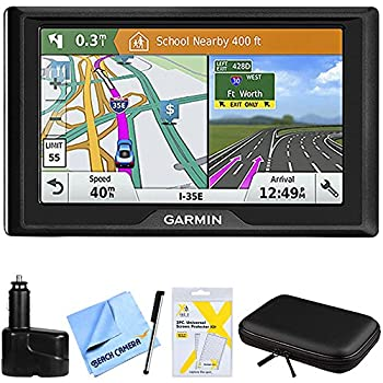 Garmin Drive 61 LM GPS Navigator with Driver Alerts USA  010-01679-0B  w/Accessories Bundle Includes Dual 12V Car Charger Hardshell Case for 7-Inch Tablets Bamboo Stylus Mini + More