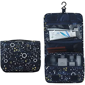 Itraveller Portable Hanging Toiletry Bag/Portable Travel Organizer Cosmetic Bag for Women Makeup or Men Shaving Kit with Hanging Hook for vacation (Pink Leopard Print)