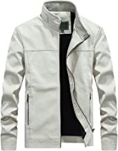 Yomiafy Men's Winter Fashion Classic Stand Collar Faux Leather Jacket Coat