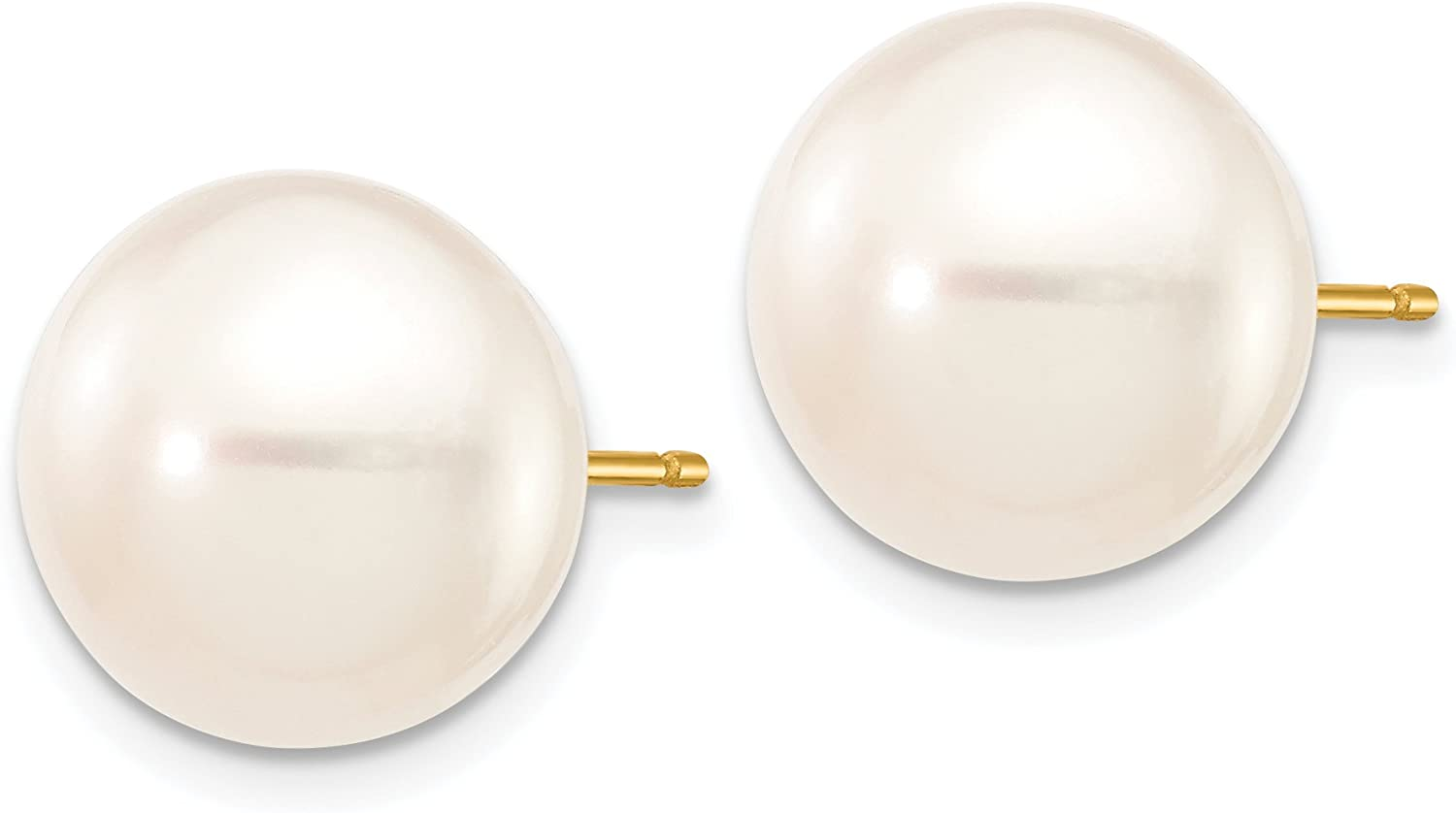 White Cultured Button Pearl Post Earrings in Real 14k Yellow Gold