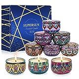 VICBAY 9 velas perfumadas, regalo para ella, duración de 180 horas, alisa el Stress Vainilla soja velas para Navidad/baño/boda/yoga