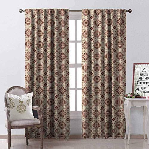 Wild One Curtain Vintage gordijnen, 99% blackout, victoriaanse inspiratie, antieke bloemen, bochten en spiralen voor de woonkamer