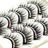 ICYCHEER Makeup Color 5 Pairs False Eyelashes Red Purple Blue Brown Fake Eye Lashes Extension With Glitter Diamond Lashes Stage Performance Cosplay Latin Dance (black diamond)