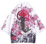 LifeHe Men's Kimono Japanese Floral Printed Kimono Cardigan Jackets Streetwear (White, M)