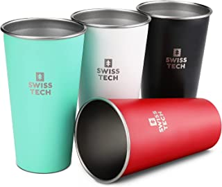 Swiss+Tech 20 oz Stainless Steel Cups, 4 Pack Stackable Pint Cup For Travel, Outdoor and Home