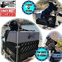 Bike Dog Basket/Crate Liner + Accessories Holds Pets 15-45lb Carrier Pkg Includes: Reversible Soft Water-Resistant 4-Sided Seat Cushion, a 4-Point Safety Harness & 20 Crate Fasteners