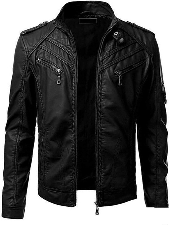 Men Leather Jackets,Vintage Classic Leather Zip Up Biker Bomber Jacket V1480
