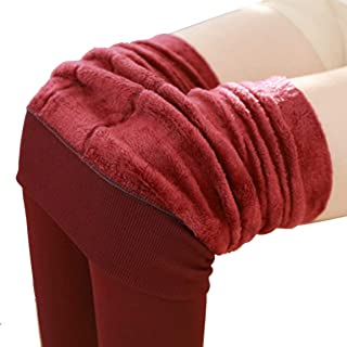Women's Plus Velvet Thickening Leggings Pearl Velvet One-Piece Pants Wearing New Warm Pants Solid Color - Wine Red 200G