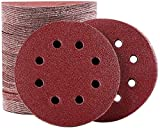 ABLEVER - Set di dischi abrasivi, 125 mm, 120 pezzi, 40/80/100/120/180/240/400/600/800/1000/1500/2000, grana per levigatrici eccentriche, con 8 fori per levigatrici eccentriche (120 pezzi)