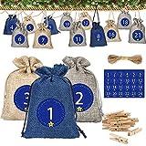 Molbory - Calendario de Adviento para rellenar, 24 bolsas de regalo con cordón, 1 – 24 pegatinas con números de Adviento, bolsas naturales, bolsas de tela, bolsas de regalo, calendario de Navidad