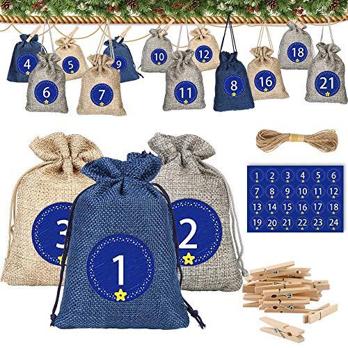 Molbory 24 Adventskalender zum Befüllen, Weihnachten Geschenksäckchen mit Zugband, 1-24 Adventszahlen Aufkleber, Natur Säckchen, Stoffbeutel, Geschenksäckchen Weihnachtskalender Bastelset