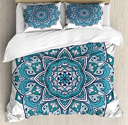 ABAKUHAUS Blauer Mandala Funda Nórdica, Rizado Flor del Este, Estampado Lavable, 3 Piezas con 2 Fundas de Almohada, 230 cm x 220 cm, Jade Verde Oscuro del Trullo