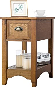 Giantex Chair Side End Table with Drawer, Retro Narrow Tiered Side Table, Compact Nightstand with Storing Shelf, End Table for Living Room Bedroom Home & Office (1, Tawny)