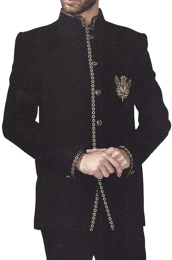 INMONARCH Mens Black 2 Pc Jodhpuri Suit Embroidered Black JO0385XL52