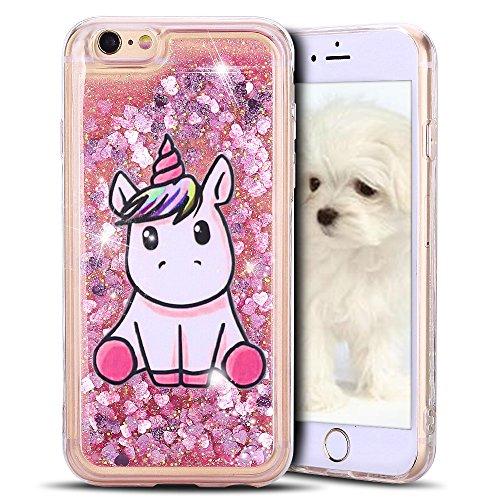 MoEvn Cover iPhone 6S, Custodia iPhone 6, Unicorno 3D Glitter Liquido Trasparente Sabbie Mobili Morbida TPU Silicone Bling Antiurto Protezione Case per iPhone 6 / 6S Smartphone (Rosa)