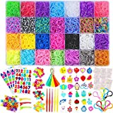 11900+ Rainbow Rubber Bands Refill Kit, 11,000 Loom Bands, 600 S-Clips, 52 ABC Beads, 30 C...