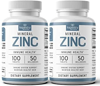 Zinc 50 mg (2-pk) - Support Immune System Health, Promote Healthy Hair, Skin, and Nails. Vegetarian Friendly, Non-GMO, Glu...