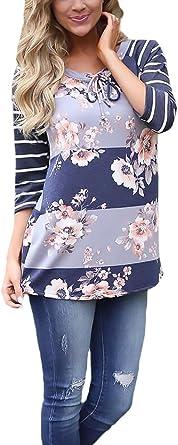 Mujer Camisetas Básicas 3/4 Manga Rayas Flor Impresa Cuello ...