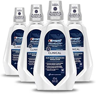 Crest Pro-Health Clinical Mouthwash, Gingivitis Protection, Alcohol Free, Deep Clean Mint, 473 Ml, 4 Count