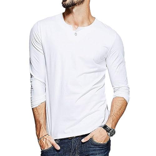 c66009b9188e Aiyino Mens O-Neck Long Sleeve/Short Sleeved T-Shirts Cotton Casual Henley