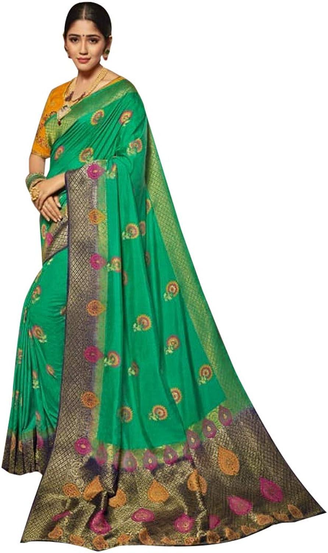Green Indian Traditional Designer Saree Women Sari with Blouse piece Evening Party wear 7846