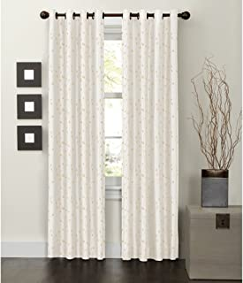 MAYTEX Jardin Thermal Blackout Room Darkening Faux Silk Embroidered Single Panel Grommet Window Curtain, 54 inch x 84 inch, Natural White