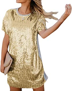 MU2M Womens Sequins Glitter Sleeve Short Casual Loose Fit Patchwork Beach Party Shirt Dress