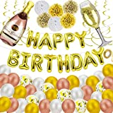 SDALU Happy Birthday Decorations, 52pcs Happy Birthday Balloon, Gold Champagne Letters Banner Balloons, Premium Aluminum Foil Reusable Air Filled Balloons For Women Men Boys Grils