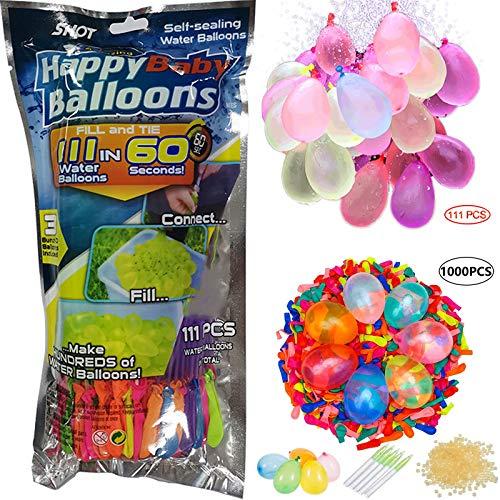 HONGXUNJIE 111PCS+1000PCS Ergänzungspaket Rapid-Fill-Verrückte Farbe Wasserballons,111 Wasserbomben in 60...
