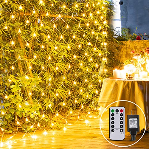 9.8ft x 6.6ft Outdoor Net Light Plug In Mesh Light Garden Twinkle Tree Light 200LED with Remote for Lawn Backyard Indoor Easter Decor, Connectable(Warm White)