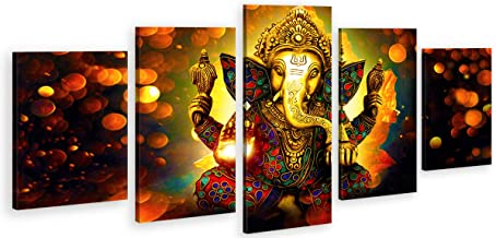 DJSYLIFE Extra Large Premium Quality Picture Canvas Wall Art - 5 Pieces Hindu God Ganesha Art Wall Home Decor HD Print Home Wall Hanging Art Prints Modular Pictures - Ready to Hang (80