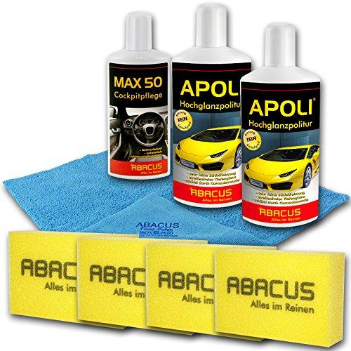 Preisvergleich Produktbild ABACUS Auto Pflege Set (7042) - Autopflege Set Autopolitur Set KFZ Pflege Auto Pflege Kunststoffpflege Vinylpflege Lackversiegelungsset