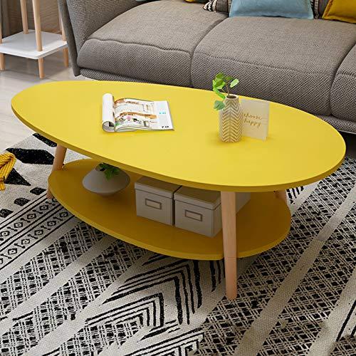 Piccolo Appartamento Composto da Soggiorno Divano Tavolo Lato Nordico, Casa Creativo A Doppio Strato Piccolo Tavolino da Salotto Moderno E Minimalista Balcone Tabella di Svago,Giallo