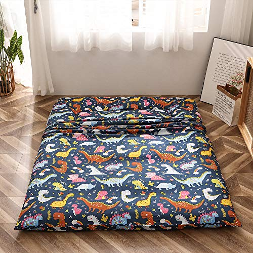 Dinosaur Japanese Floor Futon Mattress for Boys Girls, Thicken Tatami Mat Sleeping Pad Foldable Bed Roll Up Mattress Floor Lounger Bed Couches and Sofas for Kids Full Size