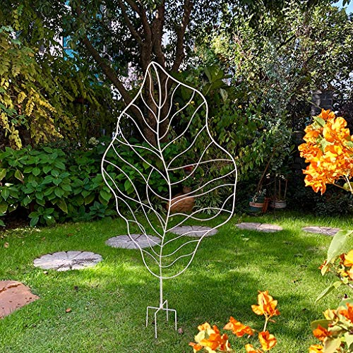 Obelisk Lattice Grid Panels, Garden Trellis for Vines and Climbing Plants, Metal Rose Flowers Iron Frame Trellis Sturdy Beautiful Plant Decor,White
