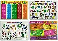 子供用学習プレースマット アルファベット、サイトワード、フォニックス、数字 – 教育テーブルマット4枚セット 幼児、幼稚園、幼稚園に。
