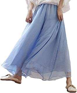 Runyue Women Trousers Flowy Floaty Bottoms Casual Loose Linen Culottes Skirt
