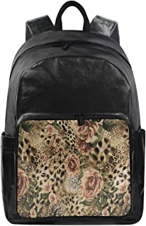 Women/Men Bookbag Animal Leopard Print Floral Casual Canvas Backpack School Rucksack for Students