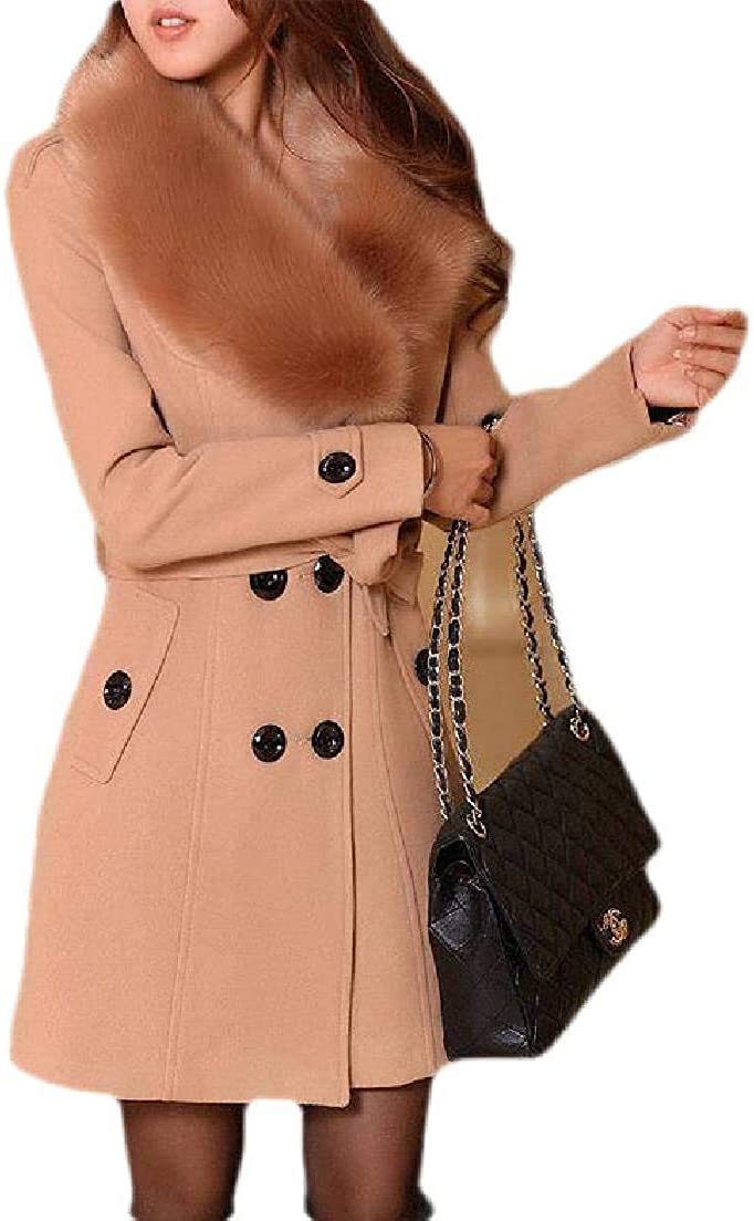 SELX Women Winter Double Breasted Faux Fur Collar Belted Overcoat Pea Coat 3 US 3XL