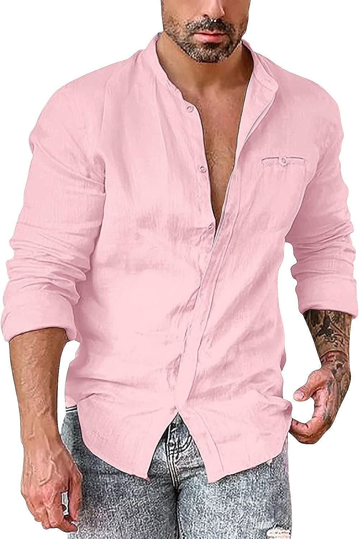 Men's Long Sleeve Shirts Linen Button Down Dress Shirt Summer Casual Beach Yoga Shirts Cotton Lightweight Tops