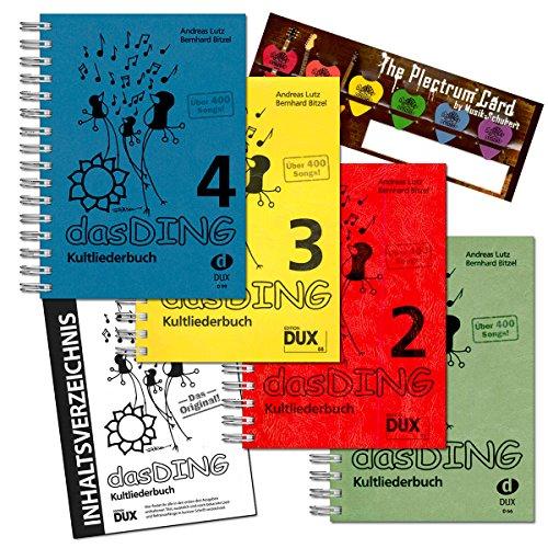 Musik-Schubert Das Ding 1+2+3+4 (ohne Noten) - der ultimative Liederbuch - Super-Megapack !!! über 1600 Songs ! im Set Plektrum-Card© und extra Gesamt-Inhaltsverzeichnis - alphabetisch Sortiert