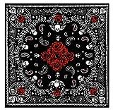 KUSTOM Factory - Pañuelo bandana Custom calavera con rosas rojas 55 x 55 cm